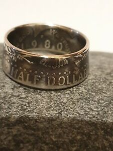 Coin Ring half dollar 1980 Size V 1/2 Handmade with care