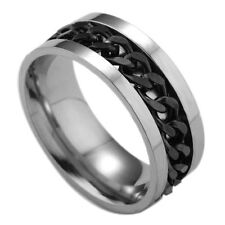Titanium Stainless Steel rotating chain ring Men's jewelry ring Sz7-12