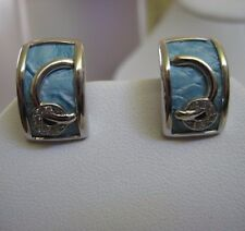 Sterling Silver & Leather Earring     Blue Color