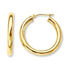 "10mm 0.4"" Baby's Infants Small Tiny Hoop Earrings Real 14K Yellow Gold 2mm"
