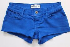 ABERCROMBIE KIDS Girls Lowrise Raw Hem Blue Denim Jean Shorts - Size 14