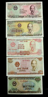 Vietnam 2000,1000,500,200,100 Dong Banknote Set World Paper Money UNC Currency