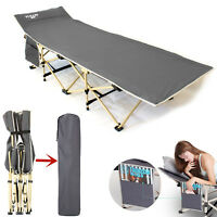 Portable Folding Bed Stable Camping Cot Outdoor Travel Sleeping with Carry Bag