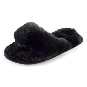 Ladies Plush Toe Post Slider Slipper