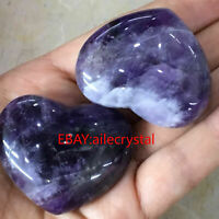 Natural dreamy amethyst heart quartz crystal hand-polished healing 2PCS