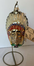 Polonaise Kurt Adler Indian Native American Chief Glass Christmas Ornament Stand