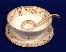 Noritake Nippon Gold Bead Roses Footed Bowl, Under Plate & Ladle Green M Wreath