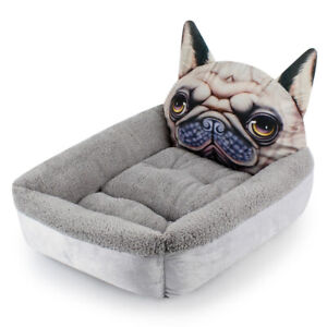 PREMIUM Pug Face Pet Bed for Dogs in Grey 2 SIZES- S M