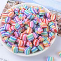 20 stk Polymer Clay Weiche Süßigkeiten Cabochons Gestreifte Farbe Handwerk DIY