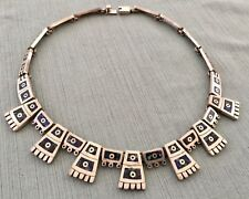 Tribal Necklace Made in Mexico Vtg Taxco 925 Sterling Silver 101.5gr