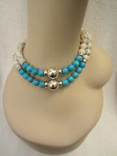 Sterling Silver Turquoise & Off White Howlite 2- Strand  Choker Necklace Superb!