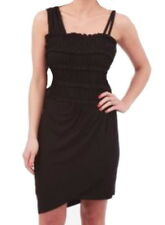 Anthropologie French Frappe Stretch Mini Dress Medium 6 8 Black Asymmetric NWT