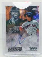 2018 Topps Chrome Francisco Lindor Orange On Card Auto #/25 Indians Mets