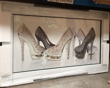 6 Gold/Silver/Black Glitter Shoes on White Mirrored Frame Wall Mirror100x60cm