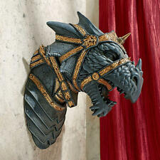 Medieval Warrior Beast Harnessed Armor Horned Dragon Head Trophy Wall Sculpture
