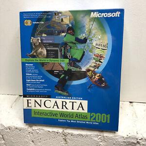 New Sealed Microsoft Encarta Interactive World Atlas 2001 PC Big Box Software