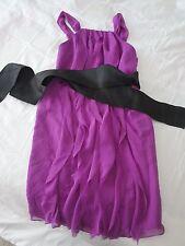 Vera Wang White Crinkle Chiffon Halter Dress with Mikado Sash  Size:4