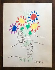 Vintage Pablo Picasso Lithograph Art 1958 Hands with Flowers Plate Signed WP
