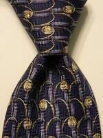 VALENTINO Mens 100% Silk Necktie ITALY Luxury Dis 70106 Geometric Blue/Ivory EUC