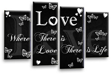 Le Reve Love Quote Wall Art Black White Grey Teal Canvas Home Family Split Panel