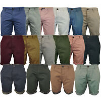 Mens Chino Shorts Threadbare Cotton Roll Up Pants Knee Length Casual Summer New