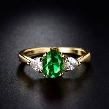 Women Charm Engagement Party Oval Green Emerald Crystal Yellow Gold Filled Ring