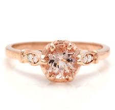 1.06 Carats Natural Morganite and Diamond 14K Solid Rose Gold Ring