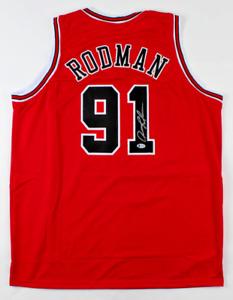 Chicago Dennis Rodman Signed Red Jersey Auto BAS Beckett COA