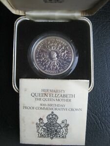 UK 1900-1980 Silver Proof Crown Coin ~ Queen Mother 80th Anniversary ~ Info Case