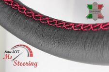 FOR SAAB 9-5 AERO 11-11 BLACK LEATHER STEERING WHEEL COVER PINK STIT