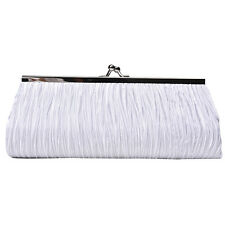 Women Lady Satin Pleated Wedding Bridal Evening Party Clutch Purse Bag Hand CL