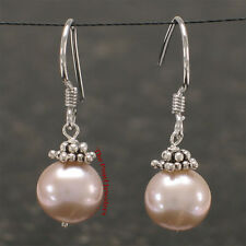 Solid Silver 925 Bali Beads Pink Cultured Pearl Hand Crafted Hook Earrings TPJ