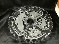 Vintage INTAGLIO Clear Glass Divided Relish Dish Celery Fish Olive