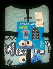NWT Mens 2 Piece Cookie Monster XMAS Pajamas T Shirt Pants Lounge Set M MEDIUM