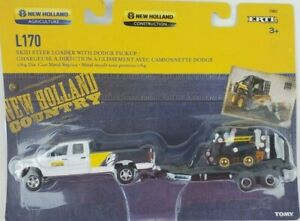 1/64 Ertl New Holland L170 Skid Loader with dealership Dodge truck trailer New