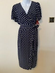 The Seamstress Of Bloomsbury Lilian Dress In Navy Polka Dot Size 14 BNWT RRP£89