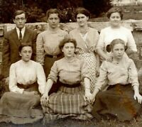 1910 6 Pretty Girls and 1 Outnumbered Boy Teens School Real Photo Postcard FE