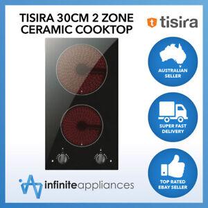 Tisira 30cm Twin Zone Frameless Black Glass Ceramic Cooktop Hob TCK31