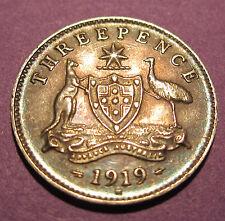 1919 Australia 3d Threepence ** ERROR ROTATION + 360 DIE CRACK ** #PW1704-08