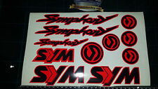 Sym Symphony Stickers / Decals RED & Black 11 piece printed vinyl, 50, 125,