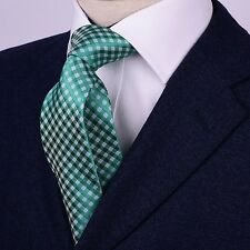 "Blue & Green Geometric Basketweave Skinny Woven Tie Teal 3"" Necktie GQ Accessory"