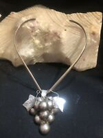 Taxco Sterling Silver Grape Necklace Vintage