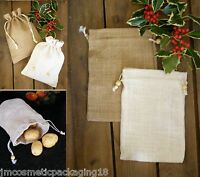 Jute Drawstring Bag Plain Hessian Pouch Small Storage Sack Natural Sac Gift Bag