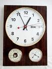 Vintage - Horloge, Pendule Murale en Formica BEROZ. Calendrier, Station Météo