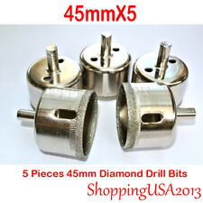 "5 pcs 45mm Diamond coated tool drill bit hole saw glass ceramic marble 1-3/4"""