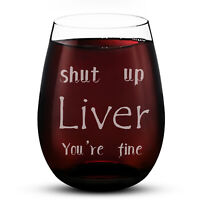 Stemless Wine Glass 15oz Liver Letter Etched Wine Glass Cups Evening Mug Gifts