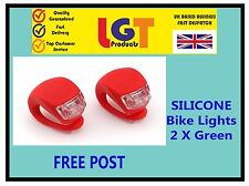 2 X RED LED SILICONE BIKE BICYCLE CYCLE REAR CAMPING BACKPACK LIGHT **