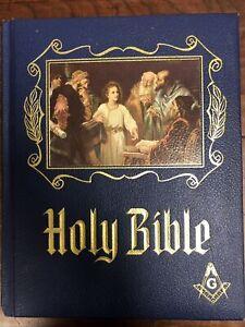 Vintage 1971 Huge Free Mason Holy Bible Masonic KJV Master Reference Heirloom