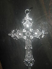 DETAILED LARGE 50MM SILVER ZINC GOTHIC CROSS PENDANT CHARM CORDED NECKLACE