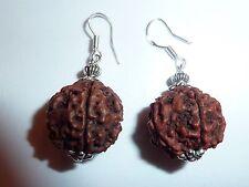 BOUCLES D'OREILLES GRAINE Rudraksha 5 faces et perles etoile en argent tibétain